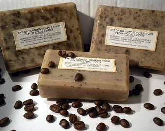UNscented Coffee Exfoliating  Soap One 4 oz Bar