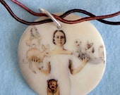 Woman carrying animals porcelain necklace on hand-dyed cord - collaboration