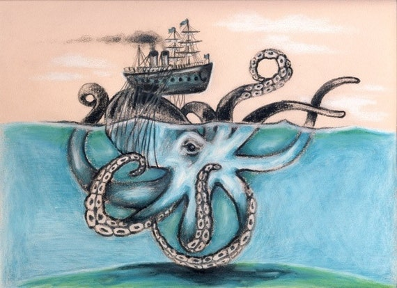 Octopus Shipwreck Drawing Octopus Steam S...