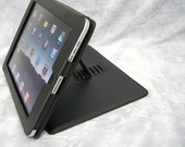 Professional iPad Black Leather Frame Design Sleeve Case w/ Velour Lining and Support Stand Lock