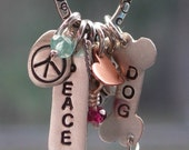 Peace Love Dog Charm Necklace in Sterling and Gemstones