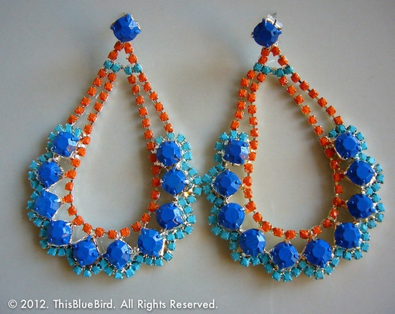 Painted Rhinestone Chandelier Earrings - One of a kind - Blue - Orange - Aqua - FINAL SALE