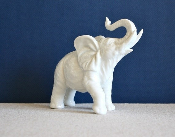 Vintage White Ceramic Elephant Statue