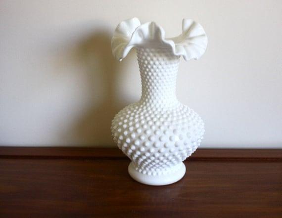 Vintage Large White Hobnail Fenton Milk Glass Vase