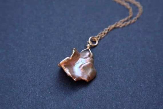 Peaches Of Cream, Freshwater Keshi Pearl Necklace, 14K gold filled, Wire Wrapped