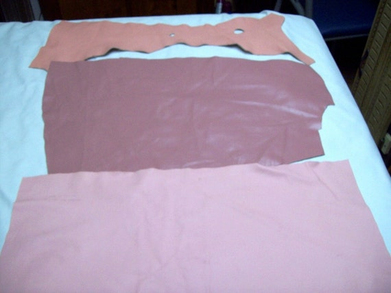 DR32  3 shades of pink leather cowhide remnants
