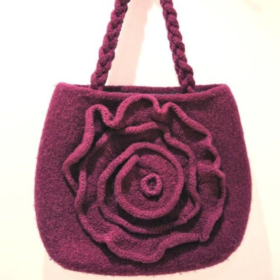 PDF Knitting Pattern for Purple Felted Rose Bag