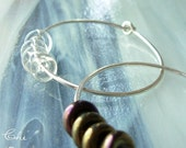 Crystal Clear and Opalescent Black Beads, Sterling Silver Hoops, Interchangeable