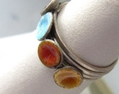 Handmade Enamel Stacking Ring Set.  Size 6, Dimple.  Red, Blue, Amber