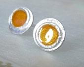 Fused Gold Enamel Post Earrings, Sterling Silver Studs, Handmade