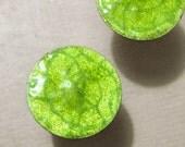 Bright Neon Green Enamel Stud Earrings, Chartreuse, Silver Posts