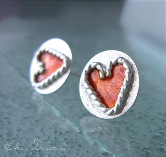 Heart Strings, Pink Red Enamel, Sterling Silver Handmade Post Earrings