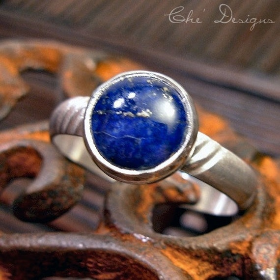 Men's Lapis Ring, Sterling Silver, Band, Rope Pattern, Size 13.  Blue