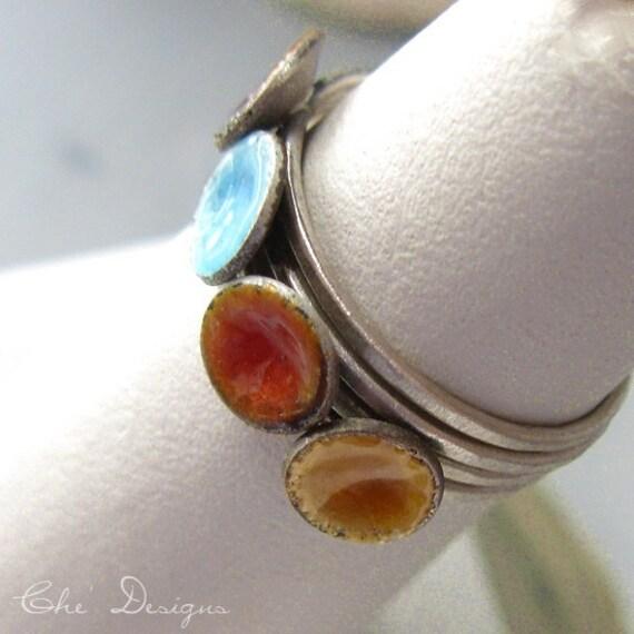 Handmade Enamel Stacking Ring Set.  Size 6, Dimple.  Red, Blue, Amber