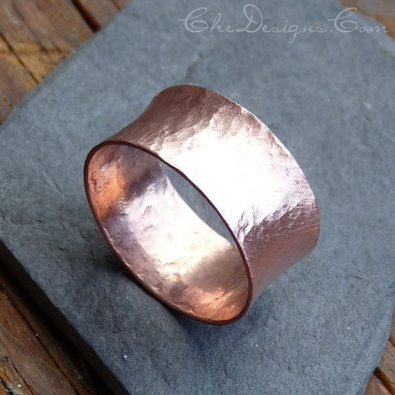 Handmade Forged Wide Flared Copper Band, Ring, Size 9