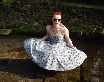 1950s inspired halter dress with full circle skirt