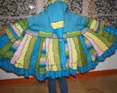 RESERVED FOR 7701troll ColoR Me EostrE Upcycled with love Recycled Coat of Many Colors by Elfedup Size L
