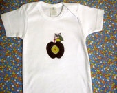 Organic shirt for Baby with Owl and Apple