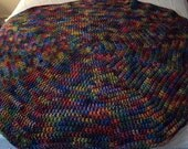 Crochet Baby or Lap afghan Circular in a Variegated Primary Colors