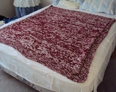 Hand Knit Blanket or Afghan Aran and Burgundy in The Big Easy Lap pattern
