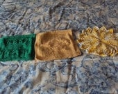 Hand Knit Wash Cloths - Tea Cup, Tea Pot, and Sun in colors of Green, Yellow and Yellow and White