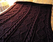Hand Knit Cable and Irish Moss Purple Afghan / Blanket