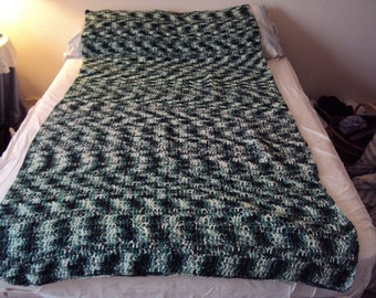 Crochet Afghan or blanket in Green Pretty Petuna Crochet Throw - (Shades of Green)