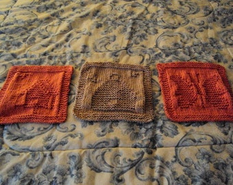 Hand Knit Wash Cloths or Dish Cloths Birdhouse, Bee Hive, and Butterfly Set of three