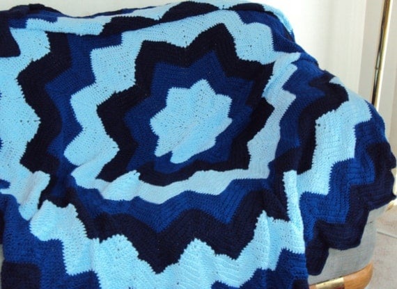 Crochet Afghan or Blanket Aztec Sun in ripples of Light Blue, Medium Blue and Navy Blue