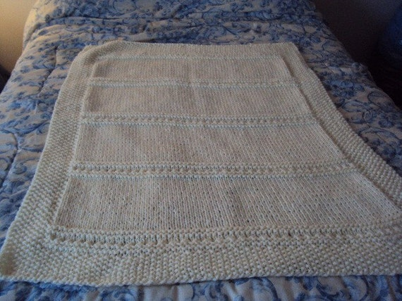 Hand Knit Baby or Lap Blanket in Antique White knit by hand in Soft and Sweet pattern