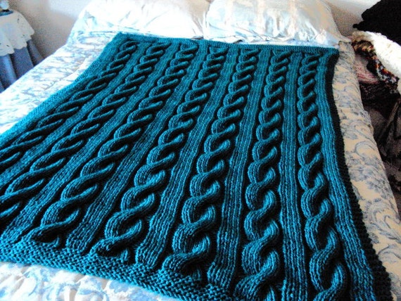 Sincerely Teal Knit Cable Afghan / Blanket by KarensKnitandCrochet
