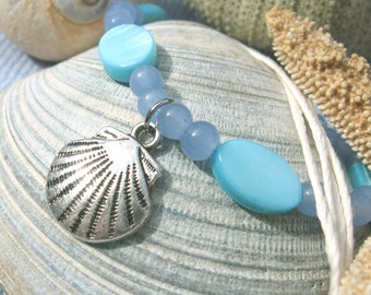 beaded necklace with bamboo cord and pewter pendant - SHELL