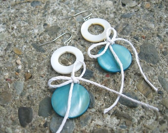 Mother of Pearl blue and white shell nautical Earrings