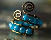 "Peacock Blue Apatite Gunmetal Copper Wirework Ring - ""Blue Morpho"""