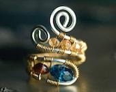 "Blue Ring, Gold, Argentium Silver Ring, Nickel Free, Gemstone Wirework Ring - London Blue Quartz, Garnet, Champagne Quartz - ""Monarch"""