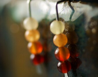 """Red Orange Earrings, Modern Beaded Sterling Silver, Shaded Red Carnelian, Hammered, Contemporary, Linear, Flame, July Birthstone - """"Embers"""""""