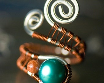 "Teal Blue Ring, Sterling Silver Copper Wirework Ring - Turquoise Freshwater Pearl, Glittery Goldstone, Earthy, Amber, Brown - ""Desert Sky"""