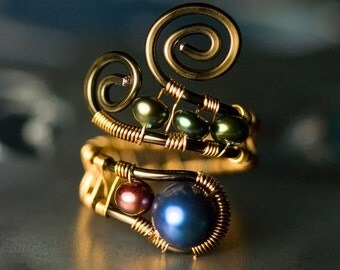 "Freshwater Pearl Copper Wirework Ring - 'AA' Dark Blue, Cranberry, Olive Peacock Pearls, Brassy, Gold, Bronze Copper - ""Still Waters"""