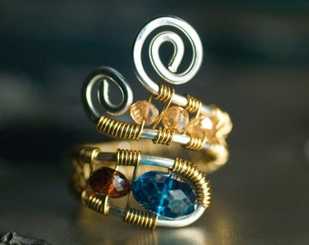 "Blue Ring, Gold, Argentium Silver Ring, Nickel Free, Gemstone Wirework Ring - London Blue Quartz, Garnet, Champagne Quartz - ""Monarch"""