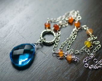 "Blue Quartz Necklace, Gemstone Sterling Silver Necklace - Cerulean Sky Blue Quartz, Orange Carnelian - ""Firefly"" by Moss & Mist Jewelry"