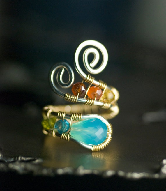 "Blue Gemstone Ring, 14K Gold, Argentium Silver - Peruvian Blue Chalcedony, Blue Topaz, Peridot, Citrine, Garnet - ""Caribbean Sunset"""