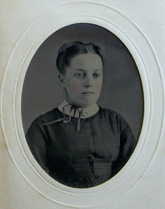 Tintype Framed Young Girl w/Ribbons