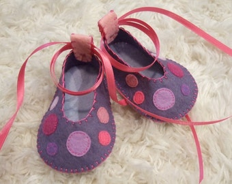 Violet Ballet Flats with Polka Dots - Felt Baby Shoes - Can Be Personalized