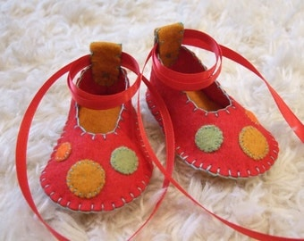 Candy Apple Red Ballet Flats - Felt Baby Shoes - Can Be Personalized