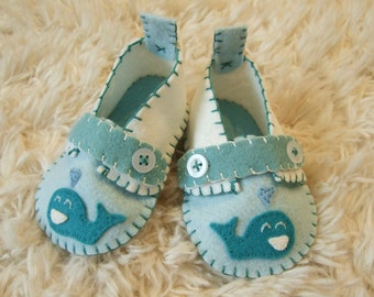 Happy Blue Whale Slippers - Baby Loafers - Felt Baby Shoes - Can Be Personalized