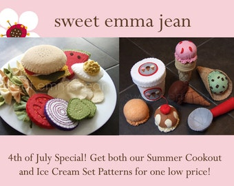 Summer Fun Combo Special - Felt Ice Cream Set & Felt Hamburger Cookout Set - PDF Patterns - DIY Felt Food