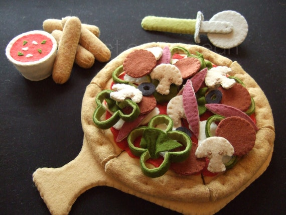 Felt Food Pattern - Felt Pizza Party Set - Pattern PDF - DIY Felt Play Food