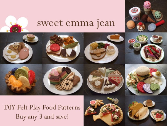 Felt Play Food Pattern PDFs - Buy Any Three and Save - DIY Felt Food Patterns