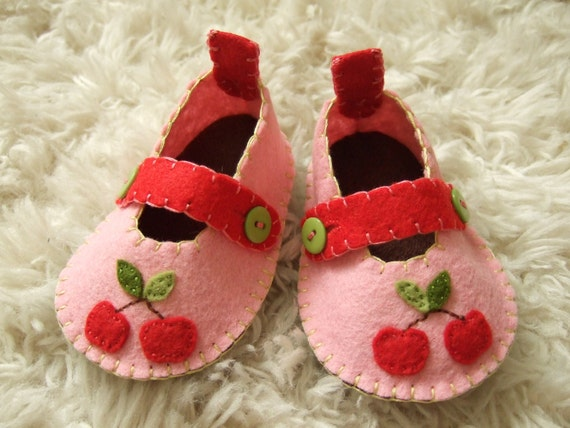 Pink Mary Janes with Red Cherries - Felt Baby Shoes - Can Be Personalized