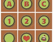 ABC's, 123's and Sock Monkeys - Sock Monkey Alphabet, Numbers, Symbols in Green, Brown and Red